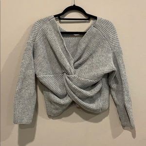 Grey twisted back sweater